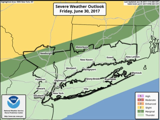 A look at the likelihood of severe storms throughout the Hudson Valley on Friday.