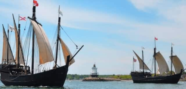 Replicas of Columbus' Nina and Pinta are docked at Captain's Cove Seaport this holiday weekend.