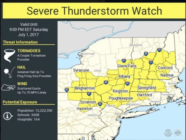 A look at the counties, including Putnam, Dutchess and Orange, in which a Severe Thunderstorm Watch is in effect.
