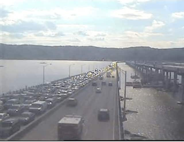 A look at gridlock on the southbound (Westchester-bound) Tappan Zee Bridge just before 4:30 p.m. Tuesday.