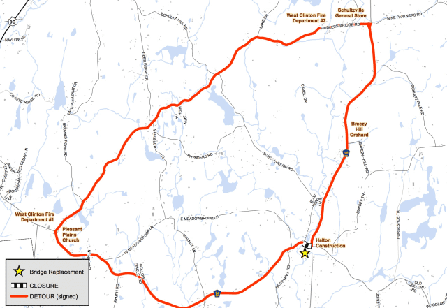 A map of the detour that is expected to begin in Dutchess County on Aug. 1.