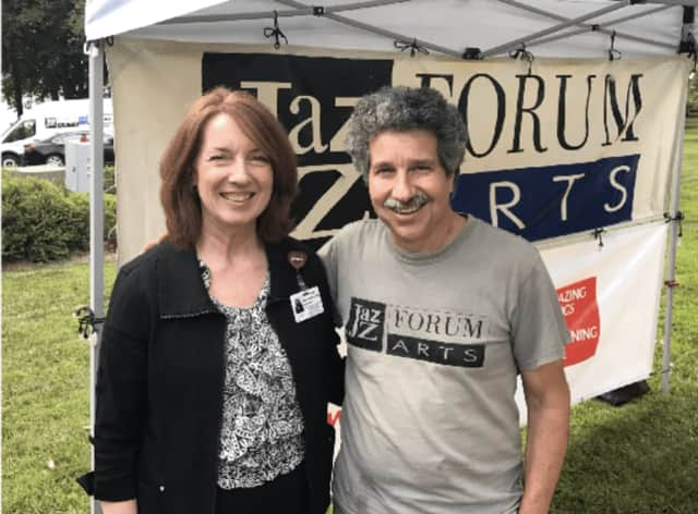Catherine Maroney, marketing manager of NewYork-Presbyterian Hudson Valley Hospital with Mark Morganelli, the executive director of Jazz Forum Arts.