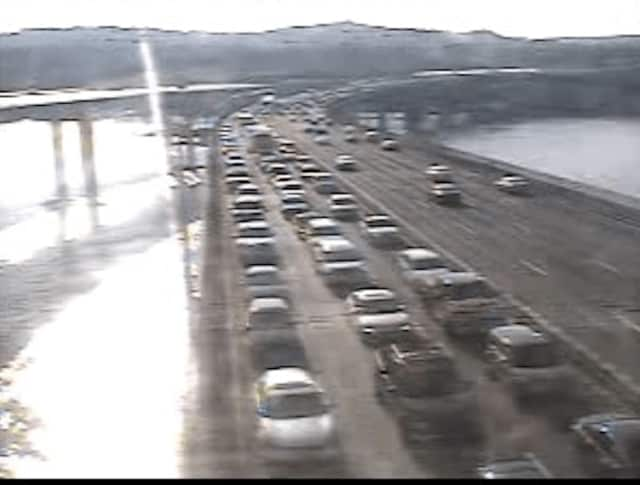 Northbound traffic on the Tappan Zee Bridge span just before 8 a.m. Monday.