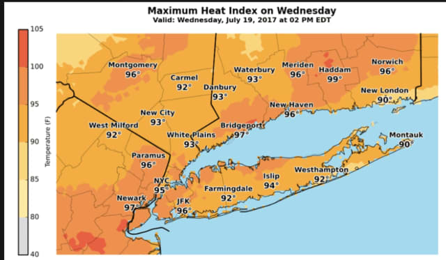 A look at the Maximum Heat Index for Wednesday in Westchester, Rockland, Putnam and surrounding areas.