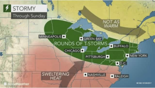 Extreme heat and humidity in the Hudson Valley will usher in rounds of torrential thunderstorms with heavy rain and gusty winds Thursday night through this weekend, according to AccuWeather.com.