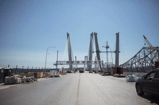 The westbound span's red tower cranes have been removed, clearing the way for the final driving surface.