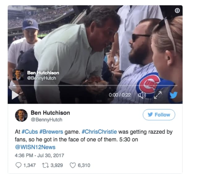 NJ Gov. Chris Christie got in a fan's face at a Milwaukee Brewers game Sunday.