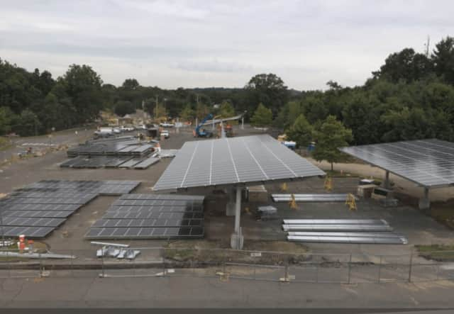 The solar carports are shaping up nicely at Fairfield Ludlowe High School in Fairfield.