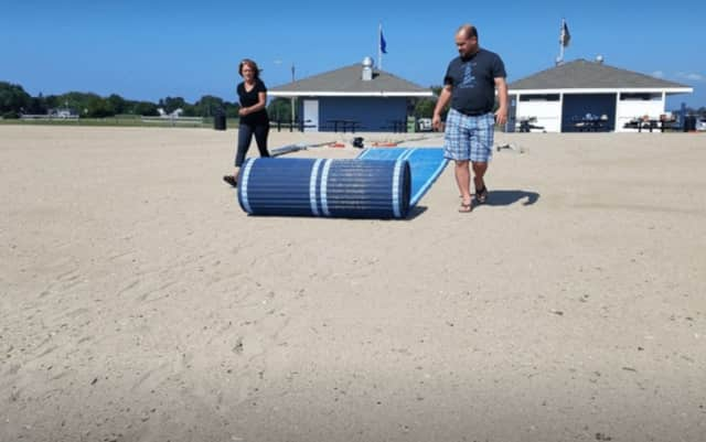Stratford residents who use wheelchairs and strollers can enjoy easier access to Short Beach thanks to new Mobi-mats.