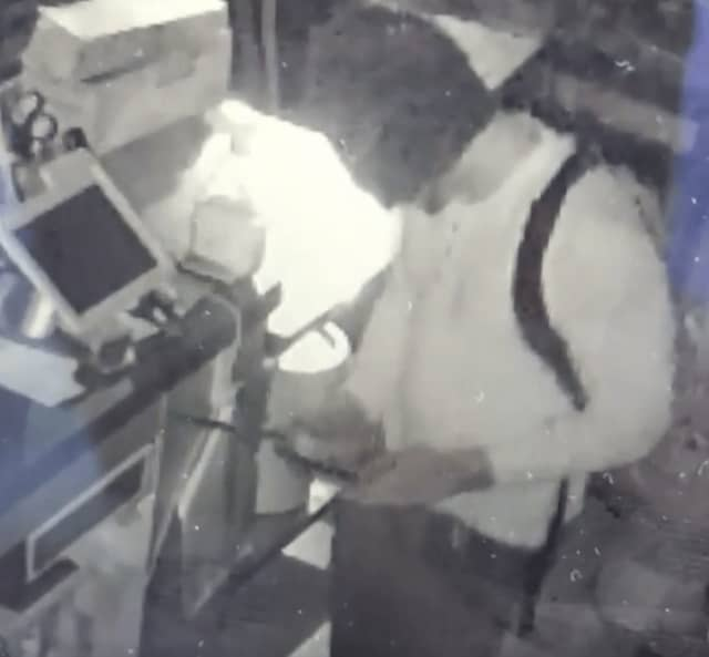 A man was caught on surveillance tapes breaking into Reilly's Ribcage in Bergenfield Wednesday.
