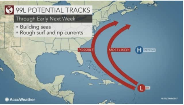 A look at potential tracks for a tropical system called 99L that will be moving up the East Coast early next week.