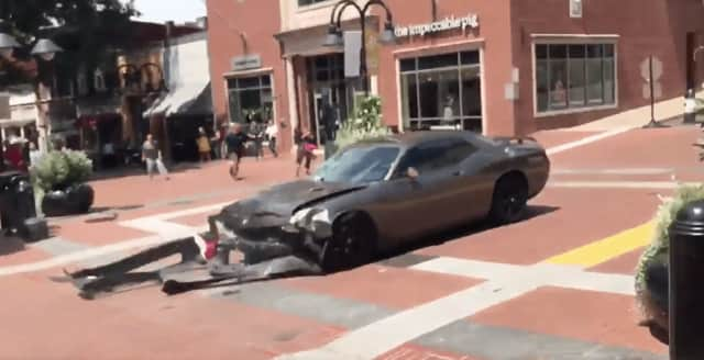 A screenshot of a car after it hit anti-racist protesters Saturday in Charlottesville, Va. One person was killed.