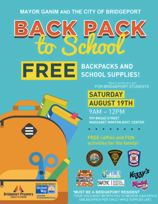 The City of Bridgeport will give out free backpacks and school supplies on Saturday.