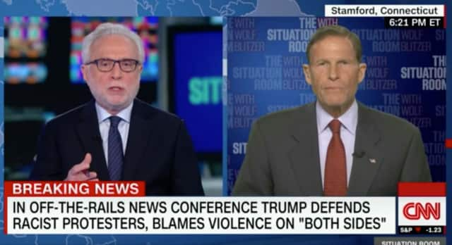 U.S. Sen. Richard Blumenthal appears Tuesday on the 'Situation Room With Wolf Blitzer' on CNN.