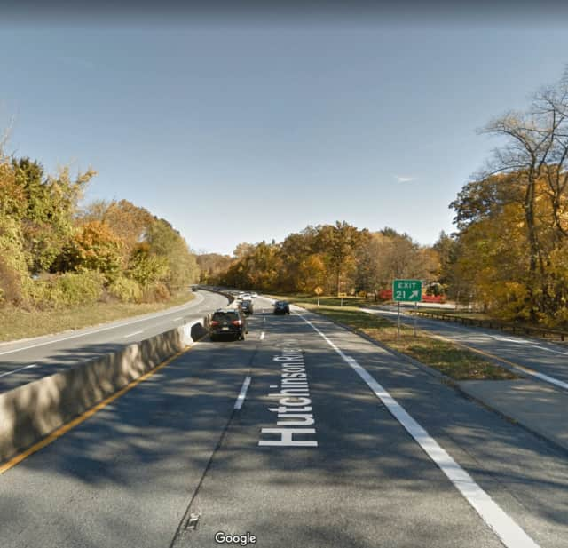 The Hutchinson River Parkway near Weaver Street in New Rochelle.