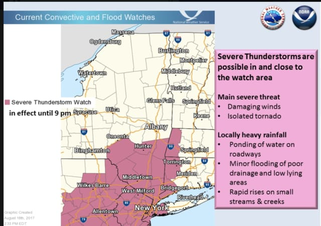 A look at areas where a Severe Thunderstorm Watch is in effect, including Westchester, Putnam, Dutchess and Rockland.