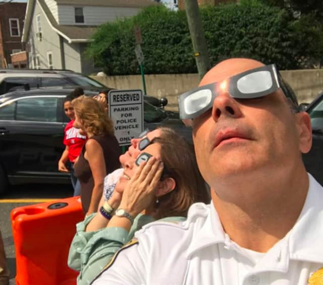 Police Chief Martin Kahn snapped a selfie with Fairview officials checking out the solar eclipse.