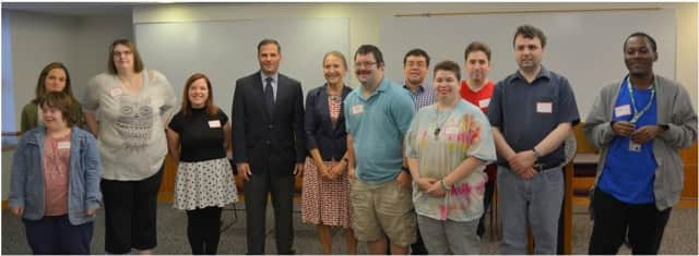 "County Executive Marcus Molinaro joined the students and teacher of the ""Think Ahead"" program at DCC."