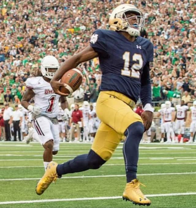 Brandon Wimbush formerly of Teaneck is the quarterback at Notre Dame.