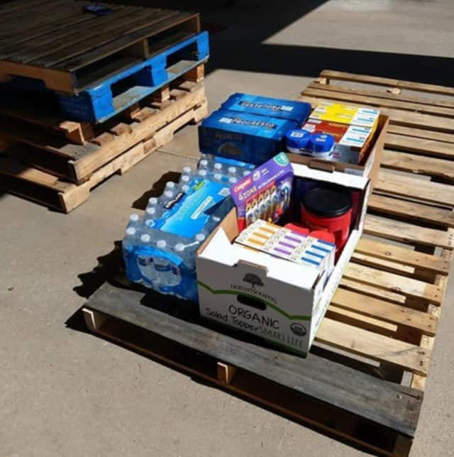 The first donations for Danbury, Texas, came in the fire department earlier today.