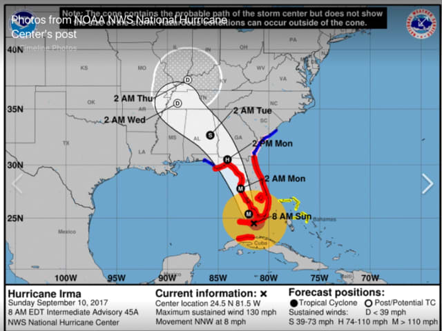 Updated forecast path for Hurricane Irma.