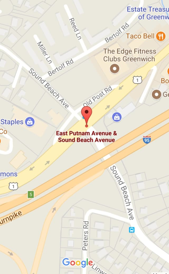 The accident occurred near the busy intersection of East Putnam Avenue and Sound Beach Avenue on Wednesday morning.