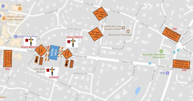Officials have posted this map of the detour that will be used in Scarsdale over the weekend as Con Edison completes work on Popham Road.