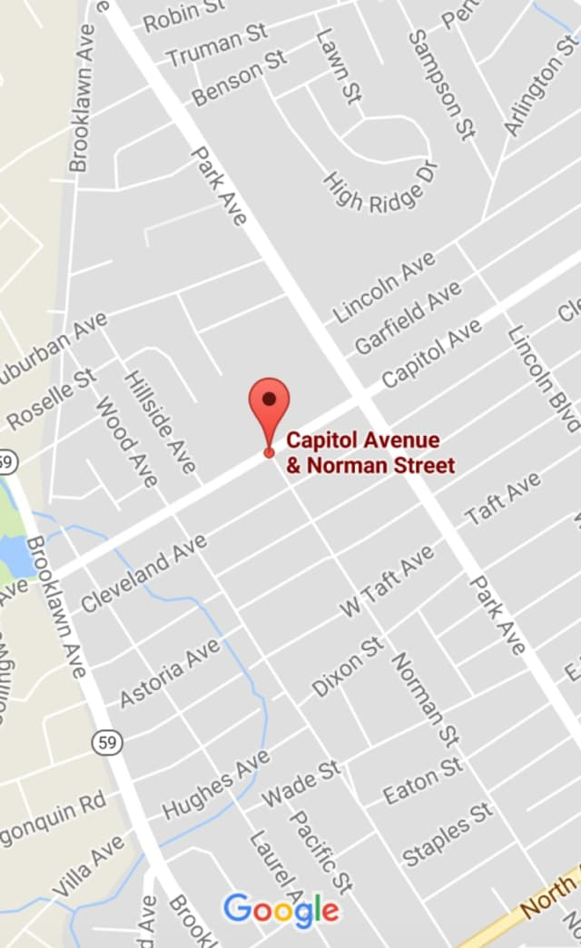 The car and motorcycle collided at Norman Street and Capitol Avenue in Bridgeport early Tuesday.