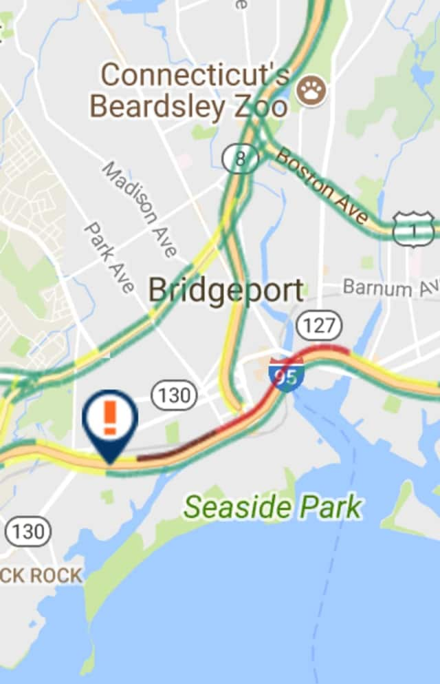 Traffic is jammed on I-95 south in Bridgeport on Thursday morning.