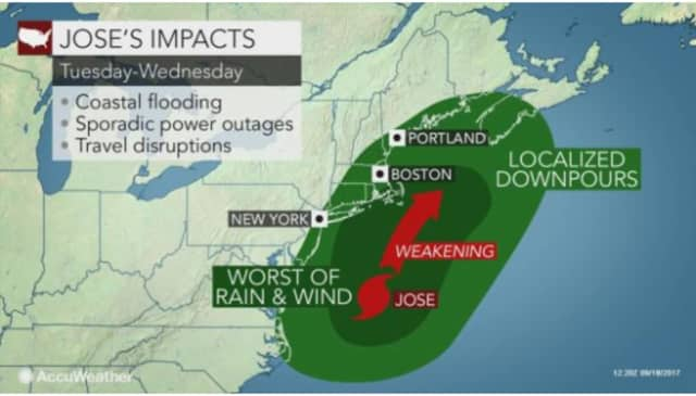 Jose, a Category 1 hurricane, will mainly affect coastal Hudson Valley in Westchester.