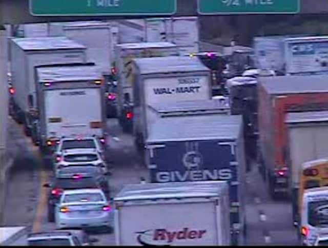 A look at delays on northbound I-95 near Playland Parkway in Rye at around 2:15 p.m. Wednesday.