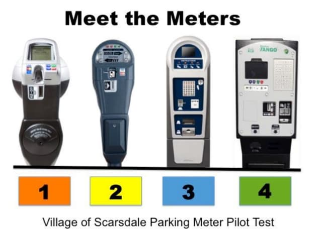 The meters will be color-coded in Scarsdale during the parking meter pilot program.