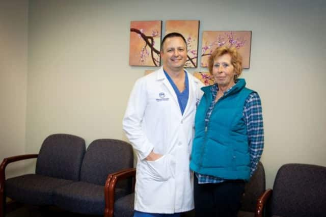 Poughkeepsie resident Christine Boehlert with her surgeon, Dr. Joseph Fulton.