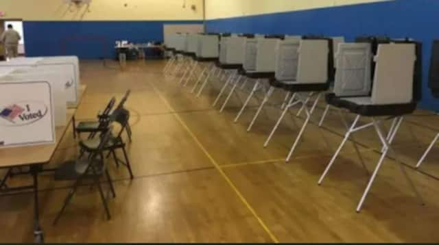 The booths are set up for voting in Connecticut.