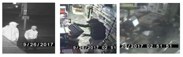 Surveillance footage captured two suspects in the burglary at Stewart's Shop in Clinton.