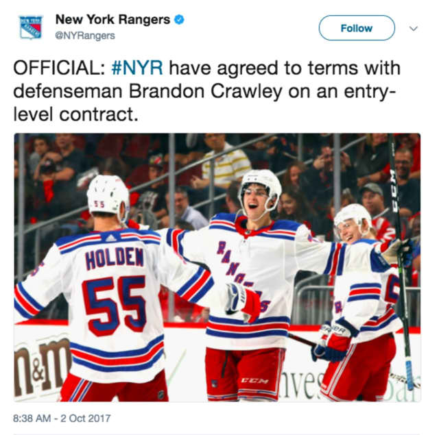 The NY Rangers signed Glen Rock's Brandon Crawley.