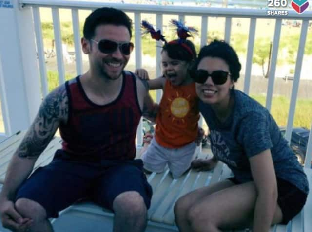 Michael Paul Albanese, 35, with his daughter, Aria, and wife, Grace.