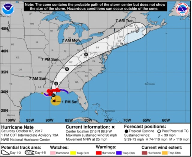 The latest projected path for Hurricane Nate.