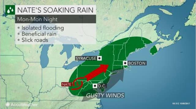Hurricane turned Tropical Storm Nate will unleash a heavy and soaking rain across the Hudson Valley on Monday.