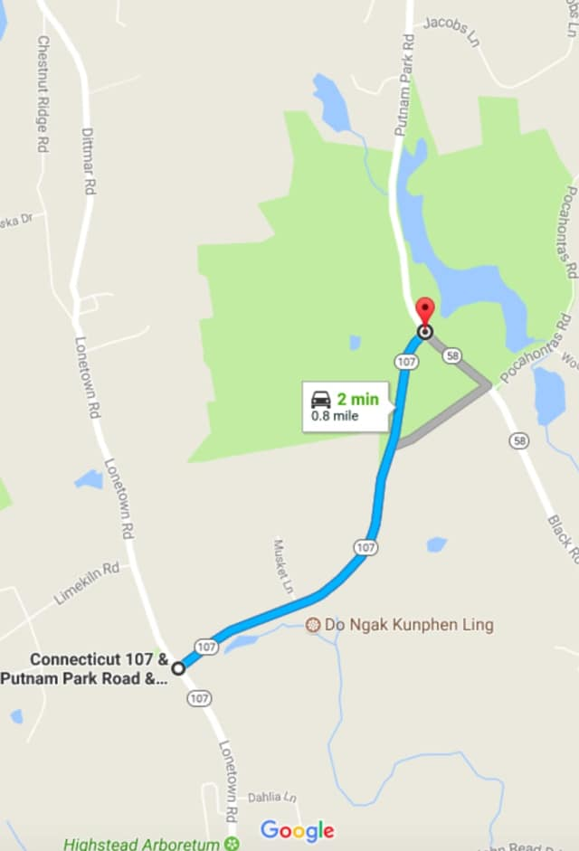 Putnam Park Road is closed between Lonetown Road and Route 58 on Monday.