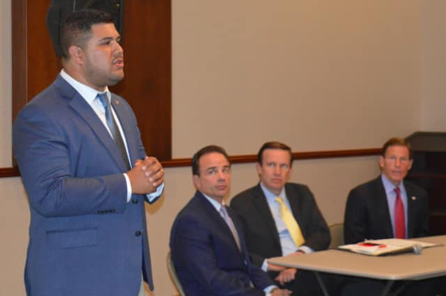 State Rep. Chris Rosario told of his family in Aibonito, Puerto Rico, during a recent meeting on the situation there in Bridgeport.