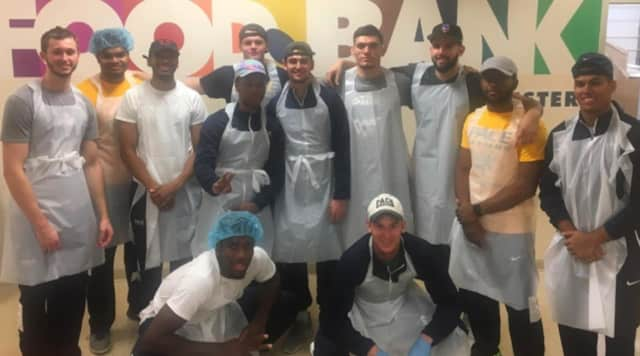 The Pace University men's basketball team helped support food collection in Westchester County.