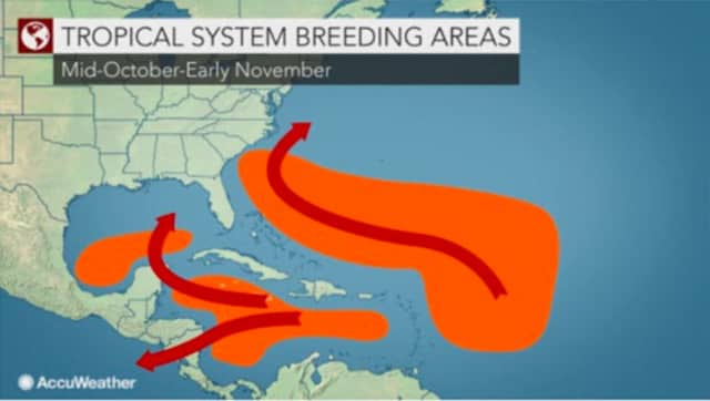 A look at breeding areas for tropical systems through early November.