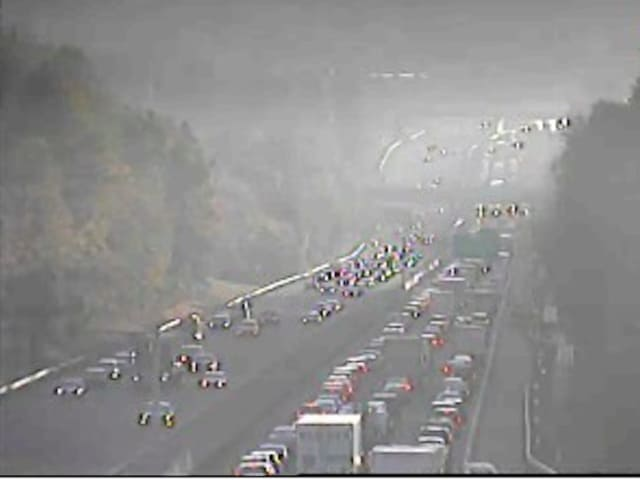 A look at conditions on southbound I-87 near the PIP interchange, just before 8 a.m., after a crash occurred.