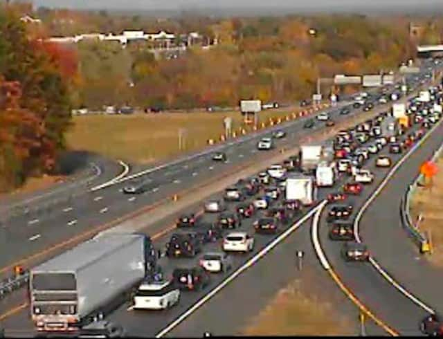 A look at conditions on southbound I-87 in Rockland at 3:45 p.m. Sunday.