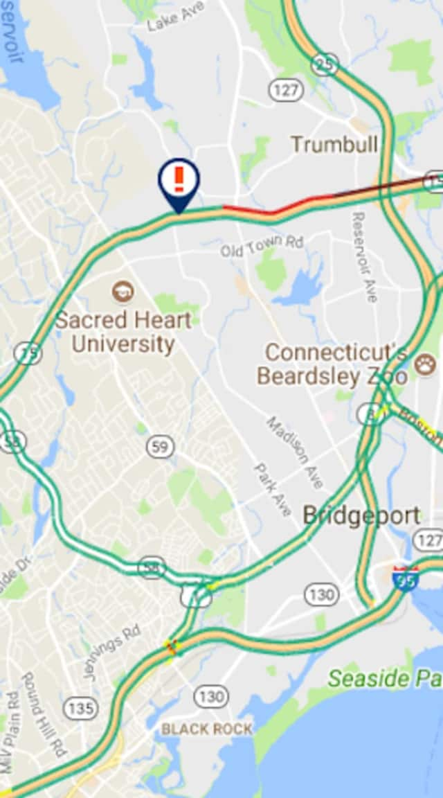 A two-car crash on the Merritt Parkway is causing delays Monday morning.