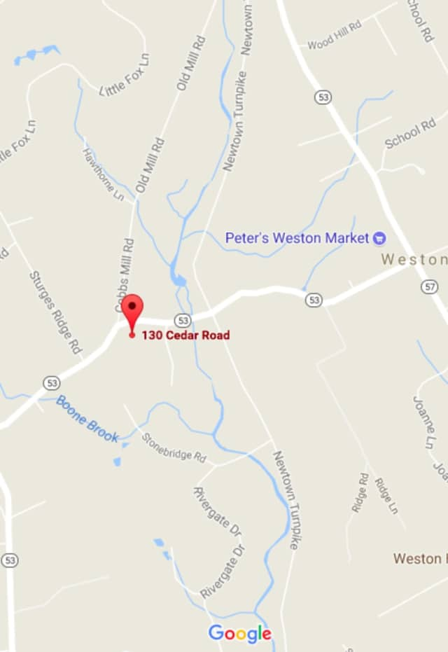 Route 53, also known as Cedar Road, is closed near the border of Wilton and Weston.