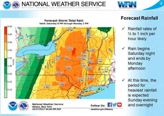 The storm is expected to result in up to 4 inches of rainfall.