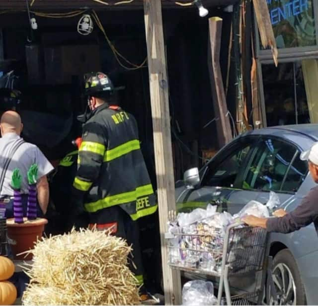 An elderly man drove into a business in New Rochelle.
