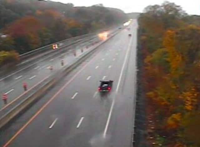 A look at flooding on northbound I-87 (left) between Route 9 in Greenburgh and the new TZB span.